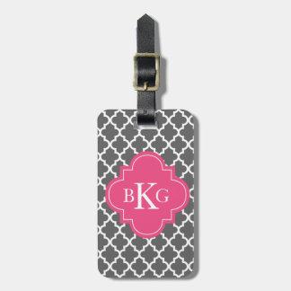 Moroccan Monogram Tag | Dark Grey Hot Pink Tag For Luggage