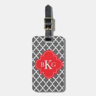Moroccan Monogram Tag | Dark Grey Red Travel Bag Tag