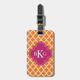 Moroccan Monogram Tag Orange Berry Pink Tags For Luggage