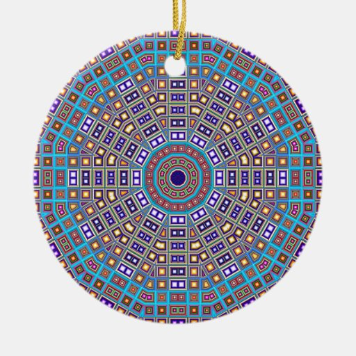 Moroccan Mosaic Kaleidoscope Double-Sided Ceramic Round Christmas Ornament