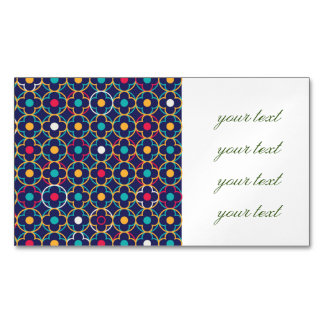 Moroccan,ogee,dark,multi,colours,trendy,pattern, Magnetic Business Card