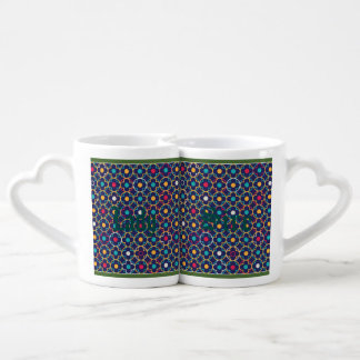 Moroccan,ogee,dark,multi,colours,trendy,pattern, Couples' Coffee Mug Set