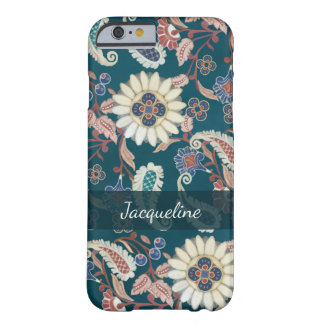 Moroccan Paisley Floral Leaf Pattern Peacock Blue Barely There iPhone 6 Case