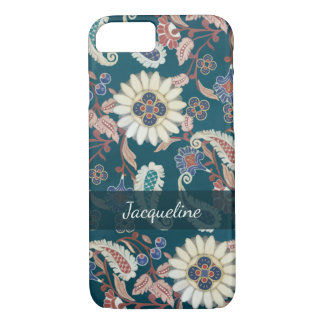 Moroccan Paisley Floral Leaf Pattern Peacock Blue iPhone 8/7 Case