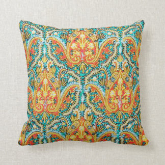 Moroccan Paisley in Aqua Blue and Tangerine Orange Throw Pillow