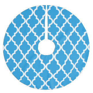 Moroccan Pattern - Deep Sky Blue Brushed Polyester Tree Skirt