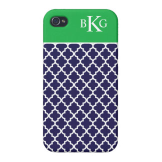 Moroccan Pattern & Monogram   Navy Apple Green Cases For iPhone 4