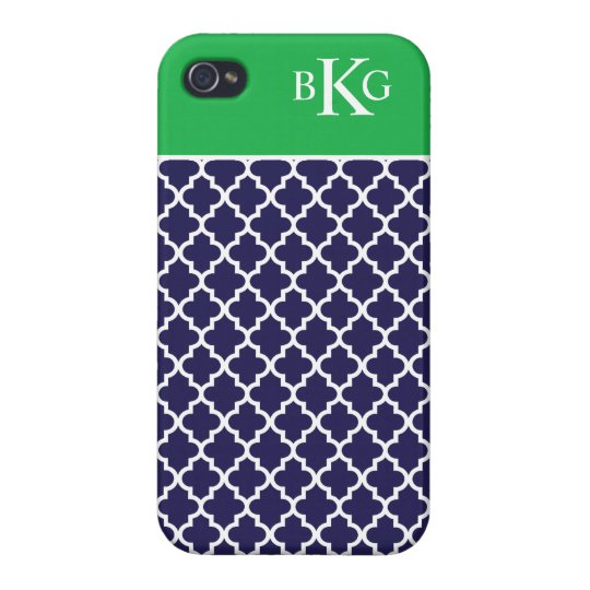 Moroccan Pattern & Monogram | Navy Apple Green Cases For iPhone 4