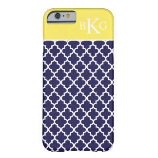 Moroccan Pattern & Monogram | Navy Blue Lemon Barely There iPhone 6 Case
