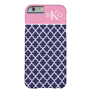 Moroccan Pattern & Monogram | Navy Pink Barely There iPhone 6 Case