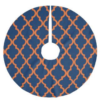 Moroccan Pattern - Navy Blue & Orange Brushed Polyester Tree Skirt
