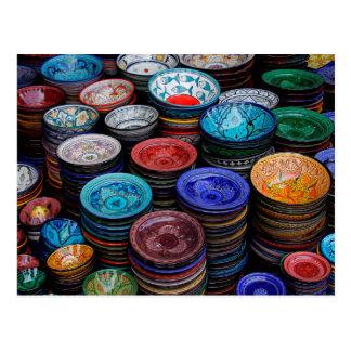 Moroccan Plates At Market Postcard