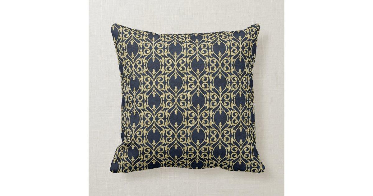 Moroccan Print Flourish Navy Blue Gold Throw Pillow Zazzlecom