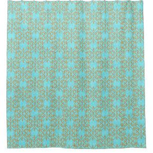 Moroccan Print Flourish Turquoise Aqua Gold Shower Curtain