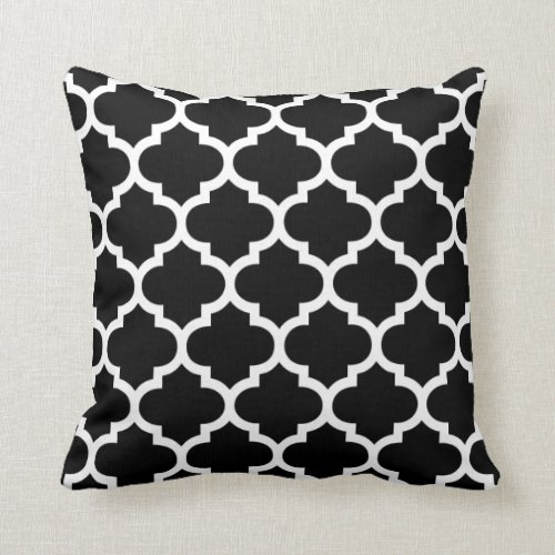 Moroccan Quatrefoil Black and White Pillow