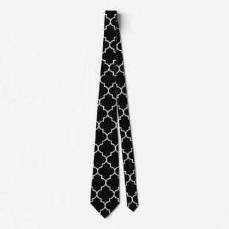 Moroccan Quatrefoil Large White Pattern on Black Neck Tie