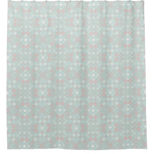 quatrefoil pastel seafoam green and coral shower curtain zazzle