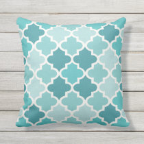 Moroccan Quatrefoil Pattern | Aqua and Turquoise Throw Pillow