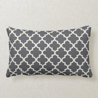 Moroccan Quatrefoil Pattern | Dark Slate Gray Pillow
