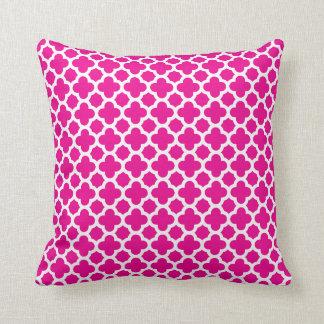 moroccan quatrefoil pattern hot pink throw pillow