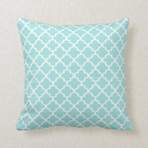 Moroccan Quatrefoil Pattern Pillow | Aqua Blue