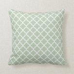 Moroccan Quatrefoil Pattern Pillow   Sage Green