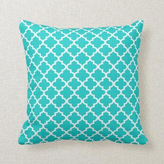Moroccan Quatrefoil Pattern Pillow   Turquoise
