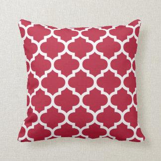 Moroccan Quatrefoil Red Pillow