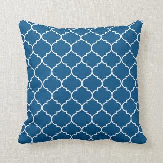 Moroccan Quatrefoil Snorkel Blue & White Throw Pillow