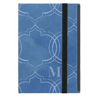 Moroccan Quatrefoil Tile Blue Pattern Watercolor Covers For iPad Mini