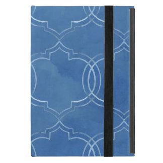 Moroccan Quatrefoil Tile Blue Pattern Watercolor iPad Mini Case
