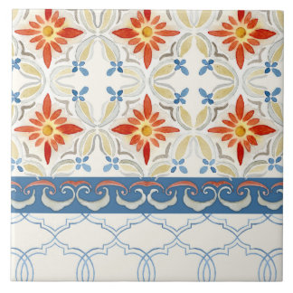 Moroccan Quatrefoil Tile Floral Pattern Watercolor