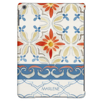 Moroccan Quatrefoil Tile Floral Pattern Watercolor Cover For iPad Air