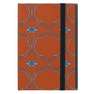 Moroccan Quatrefoil Tile Floral Pattern Watercolor iPad Mini Covers