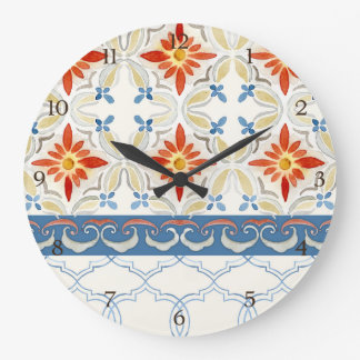 Moroccan Quatrefoil Tile Floral Pattern Watercolor Large Clock