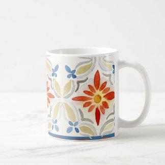 Moroccan Quatrefoil Tile Floral Pattern Watercolor Coffee Mugs