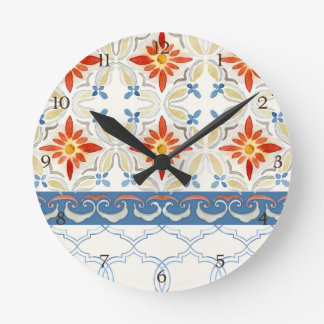 Moroccan Quatrefoil Tile Floral Pattern Watercolor Round Clock