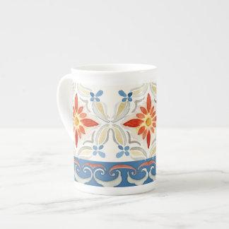 Moroccan Quatrefoil Tile Floral Pattern Watercolor Porcelain Mugs