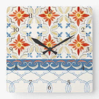 Moroccan Quatrefoil Tile Floral Pattern Watercolor Square Wall Clock