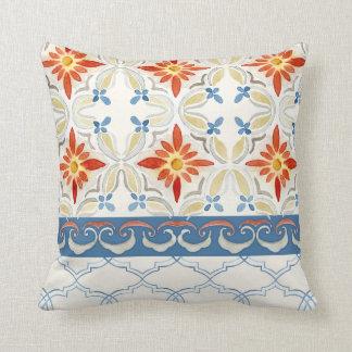 Moroccan Quatrefoil Tile Floral Pattern Watercolor Throw Pillow