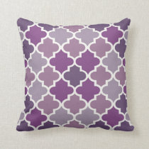 Moroccan Quatrefoil Tile Pattern | Purple Shades Throw Pillow