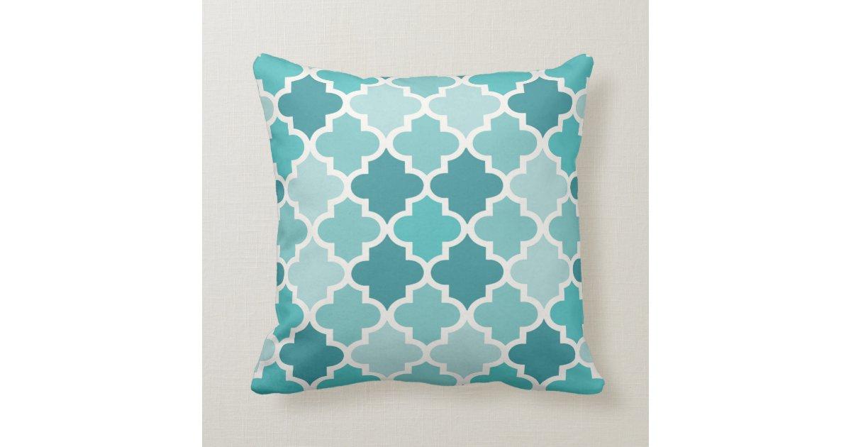 Moroccan Quatrefoil Tile Pattern Turquoise Blue Throw Pillow Zazzle