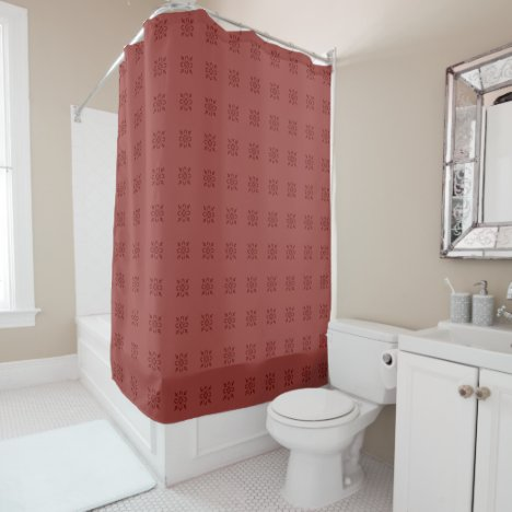 Moroccan red damask shower curtain