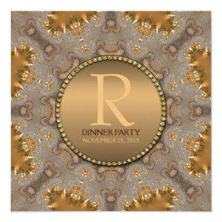 """Moroccan Star Dinner Party Gold Invitation 5.25"""" Square Invitation Card"""