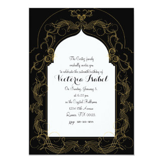 MOROCCAN sweet sixteen invitation GOLD