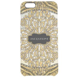 Moroccan Swirl Scroll Gold Glitter Elegant Name Clear iPhone 6 Plus Case