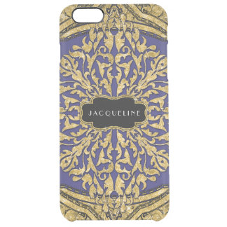 Moroccan Swirl Scroll Gold Glitter Elegant Name Clear iPhone 6 Plus Case