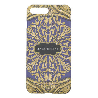 Moroccan Swirl Scroll Gold Glitter Elegant Name iPhone 8 Plus/7 Plus Case