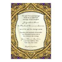 Moroccan Swirl Scroll Gold Glitter Elegant Wedding 5x7 Paper Invitation Card (<em>$2.43</em>)