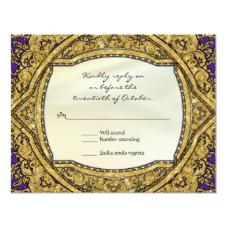 Moroccan Swirl Scroll Gold Glitter Elegant Wedding Card